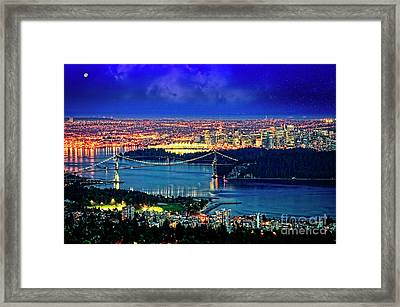 Framed Print featuring the photograph Moon Over Vancouver by Scott Kemper