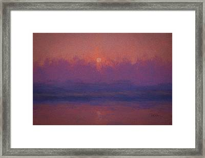Framed Print featuring the digital art Moon Set Textured by Bill Posner
