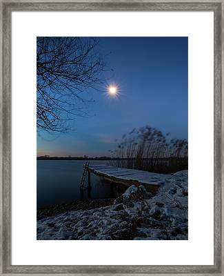 Framed Print featuring the photograph Moonlight Over The Lake by Davor Zerjav