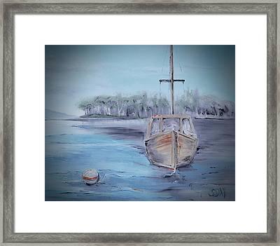 Moored Sailboat Framed Print