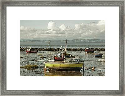 Morecambe. Boats On The Shore. Framed Print
