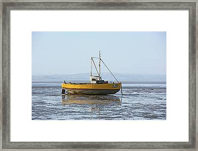 Morecambe. Yellow Fishing Boat. Framed Print
