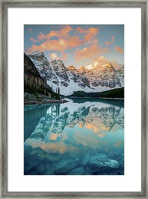 Framed Print featuring the photograph Morraine Lake Moonset / Alberta, Canada  by Nicholas Parker