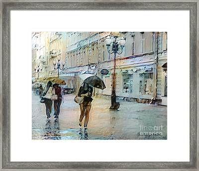 Moscow In The Rain Framed Print