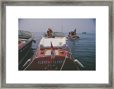 Motorboats In Antibes Framed Print