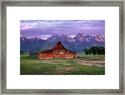 Moulton Barn Sunrise Framed Print by Leland D Howard