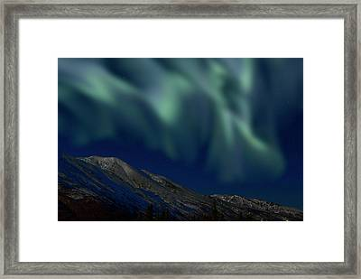 Mountain & Northern Lights Framed Print by Mark Newman