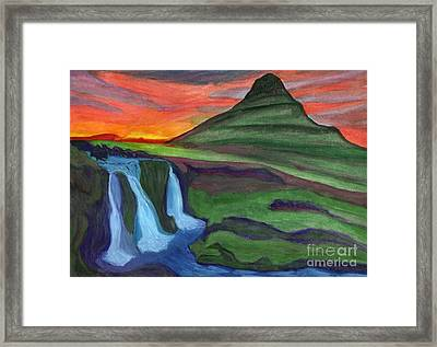 Mountain And Waterfall In The Rays Of The Setting Sun Framed Print
