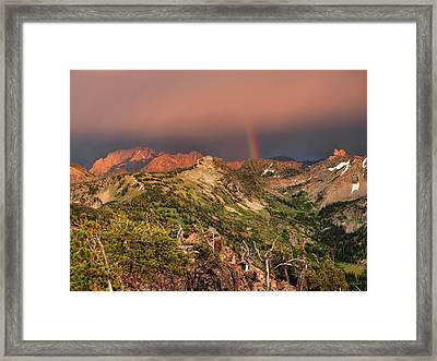 Mountain Light And Rainbow In The Tetons Framed Print by Leland D Howard