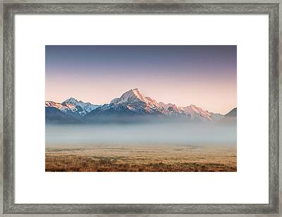Mt Cook Emerging From Mist At Dawn, New Framed Print by Matteo Colombo