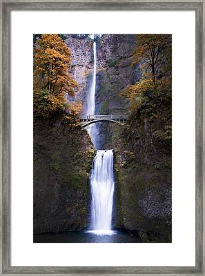 Framed Print featuring the photograph Multnomah Falls Autumn Colors by Rospotte Photography
