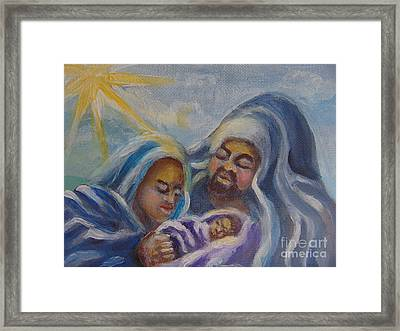 Framed Print featuring the painting Nativity by Saundra Johnson