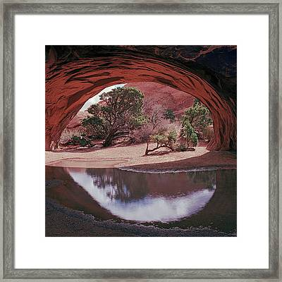 Navajo Arch Reflection Framed Print