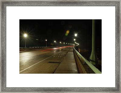 Framed Print featuring the photograph Naval Academy Bridge At Night by Mark Duehmig