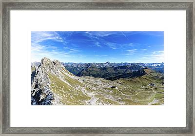 Framed Print featuring the photograph Nebelhorn Panorama by Andreas Levi