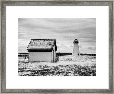 Framed Print featuring the photograph Neds Point Lighthouse Mattapoisett Ma Bw by David Gordon