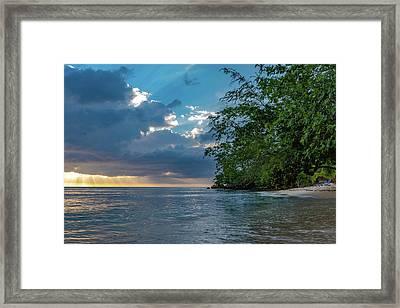 Negril Beach Sunburst At Sunset Framed Print