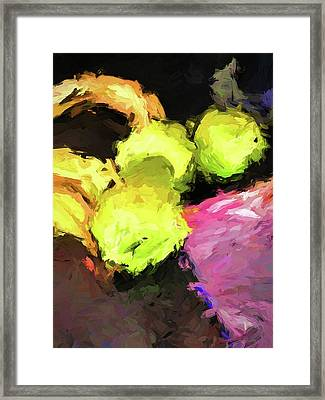 Neon Apples With Bananas Framed Print