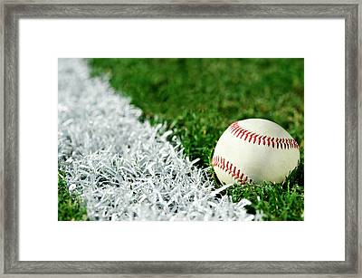New Baseball Along Foul Line Framed Print by Cmannphoto