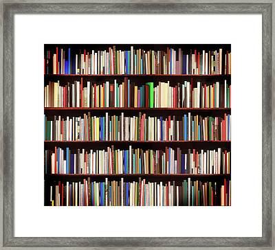 New Books In A Bookstore Framed Print