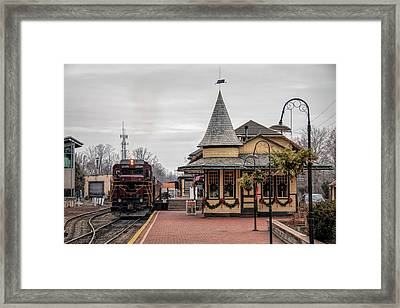 Framed Print featuring the photograph New Hope Train Station At Christmas by Kristia Adams