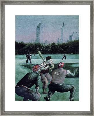 New York Central Park Baseball - Watercolor Art Painting Framed Print