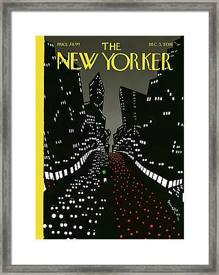 New York Lights Up Framed Print
