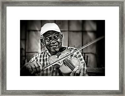 New York Street Fiddler Framed Print