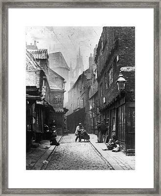 Newcastle Slum Framed Print by Lyddel Sawyer