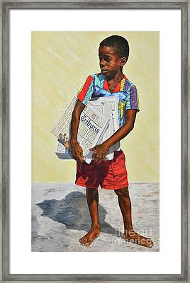 Newspaper Boy Framed Print