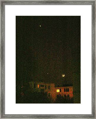 Framed Print featuring the photograph Night Lights by Attila Meszlenyi