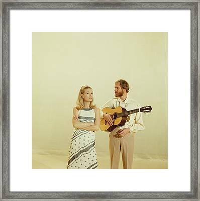 Nina And Frederik Perform On Tv Show Framed Print by David Redfern