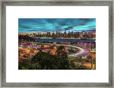 Framed Print featuring the photograph Nj And Ny Sunrise by Francisco Gomez