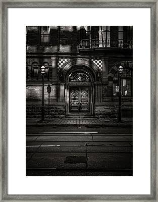 Framed Print featuring the photograph No 107 Wellington St W Toronto Canada Toned Version by Brian Carson