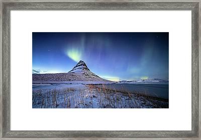 Northern Lights Atop Kirkjufell Iceland Framed Print