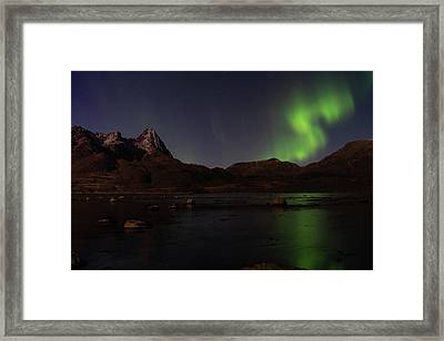Northern Lights Aurora Borealis In Norway Framed Print