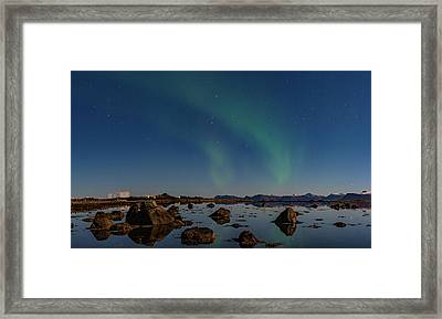 Northern Lights Over A Swamp  Framed Print
