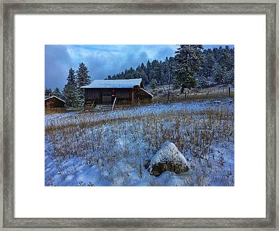 Framed Print featuring the photograph November Cabin by Dan Miller