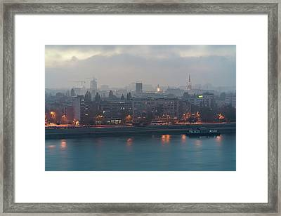 Novi Sad Night Cityscape Framed Print