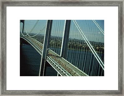 Nyc Marathon Runners On Bridge Framed Print by Frederic Lewis
