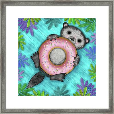 O Is For Otter With An O So Delicious Doughnut Framed Print