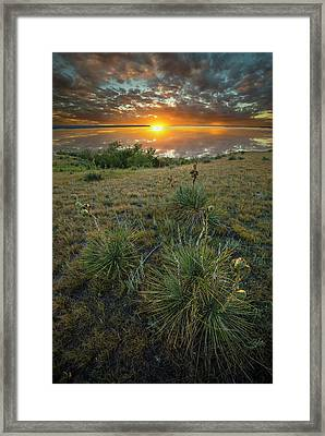 Framed Print featuring the photograph Oahe Sunset  by Aaron J Groen