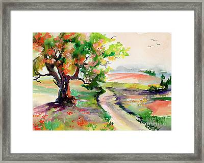 Framed Print featuring the painting Oak Tree Landscape Path Home  by Ginette Callaway