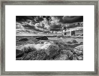 Framed Print featuring the photograph October Morning At Marshall Point In Black And White by Rick Berk