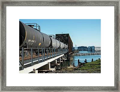 Oil Train Over Swinomish Channel Framed Print
