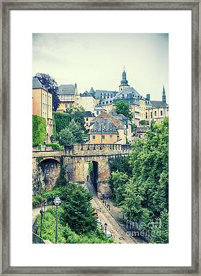 Framed Print featuring the photograph old city Luxembourg from above by Ariadna De Raadt