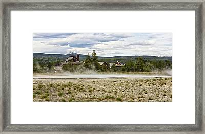 Framed Print featuring the photograph Old Faithful Inn Hotel In The Yellowstone National Park by Tatiana Travelways