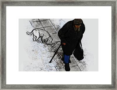 Framed Print featuring the digital art Old Lady With A Dog by Attila Meszlenyi