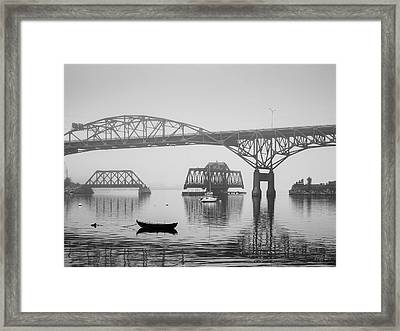 Framed Print featuring the photograph Old Sakonnet River Bridge IIi Bw by David Gordon