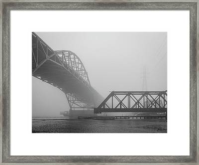 Framed Print featuring the photograph Old Sakonnet River Bridge V Bw by David Gordon